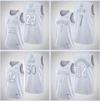 Erkekler Basketbol Formaları Sezonun MVP 23 Lebron 7 Durant 30 Köri 34 Antetokounmpo Dikiş İmza Beyaz Hatıra Forması