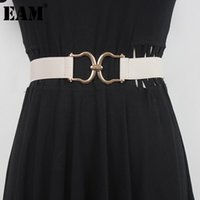 Belts [EAM] Multi Color Metal Button Elastic Long Wide Belt Personality Women Loose Fashion All-match Spring Autumn 2021 1DD6590