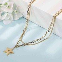Collar Moda Cinco puntiagudo Estilo de estrella Personalidad de las mujeres Doble cadena de clavícula temperamento simple calle