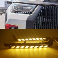 1Pair Auto LED-Scheinwerfer Tagfahrlicht für Toyota Hilux Revo Rocco 2020 2021 Runden Sie das gelbe Signal DRL-Tageslicht