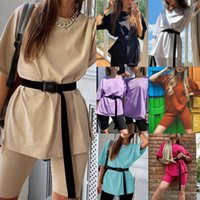 Hot selling home short sleeve T-shirt + elastic sports pants belt women's three piece Yoga Fitness suit65TF