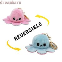 New 2021 Reversible Flip Octopus Keychain Metal Key Ring Plush Doll Toy Bag Animal Pendants Double-Sided Emotion Toys Cute Keyring Ornment