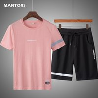 Casual Hommes Ensembles Summer Tracksuits Men 2 pièces Ensemble T-shirt + Shorts Fashion Sportswear Jogging Track Track Track Hommes Vêtements 210330