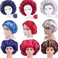 Fashion Extra Large Satin Silky Bonnet Sleep Cap With Premium Elastic Band For Women Solid Color Head Wrap Brimmed Shower Caps