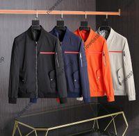 21ss luxo high-end windbreaker designer jaqueta masculina colarinho casaco de moda tira vermelha caixas de impressão com zíper hoodies homens casacos 4 cores