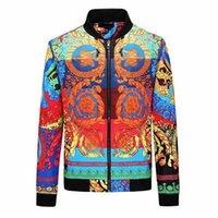 Мужская куртка Европейский стиль роскошный высококачественный тонкий модный напечатанный верхняя одежда повседневная спортивная спортивная улица хип-хоп пружина и осенняя ветровка