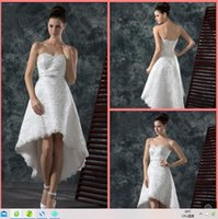 Vestido De Festa a line white lace high low wedding dress strapless sweetheart neck beaded with sashes iinformal bride dresses summer beach corset bridal gowns