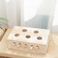 Cat Toys Interactive Hunt Mouse 5 Holes Solid Wood Whack Mole Game Funny Kitten Puzzle Toy Hamster Machinery Pet Accessories