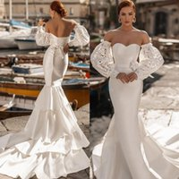 African Aso Ebi Arabic Mermaid Wedding Dress Bridal Gowns with Detachable Long Sleeve Off Shoulder Plus Size Garden Country Bride Dresses Robes