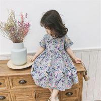 SK INS Koren Kids Summer Little Girls Dresses Flower Printing Bountique Clothes Korean Style Dress