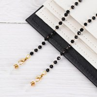 Gafas de sol Marcos Moda Acrílico Cristal de cristal Cuello Cadena Cadena Black Beads Gafas Collar Cordón de metal Cordón