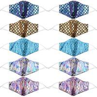 ملون حورية البحر أقنعة الوجه مصمم مع الترتر يغطي قناع rainbow مكافحة جيب الغبار الليزر قابل للغسل فلتر OWA2226 BPKIR XWPCT
