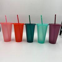 16 أوقية بريق كأس اللون تلميح البلاستيك شرب البهلوانات مع غطاء والقش الحلوى الألوان قابلة لإعادة الاستخدام المشروبات الباردة كوب أطفال بهلوان dhl dh11