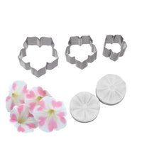 F6YC Kuchen Werkzeuge 5 stücke Petunia Blume Blütenblatt Veiner Silikonformen Edelstahl Cutter Mold Set Fondant Kuchen Dekorieren Werkzeug DIY Handgemachte Form
