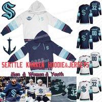Seattle Kraken Jersey ve Hoodie Hokey Formaları 2021 Sezon Özel Erkek Kadın Gençlik 100% Nakış Dikişli Formalar