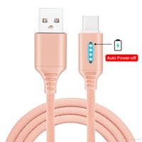 Smart Power Off Type-C Micro USB-кабели 2А быстрые зарядки светодиодные автоматические отключения нейлоновые плетеные кабельные данные синхронизации для мобильных телефонов