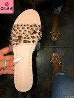 Slippers Summer Rivet Rhinestone Flip Flop Shoes Women Beach Flat Sandals Leisure Snake Pattern Open Toe Home K7D6