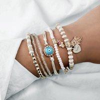 Charm Bracelets 6 Stks set Kralen Strand Fatima Hand Bedelarmband Set Voor Vrouwen Liefde Hart Hamsa Sieraden Bohemen Braclets
