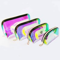Cosmetic Bags Makeup Cases Laser TPU transparent cosmetic-bag women's portable skin care products storage-bag Magic Color Travel Wash Bag