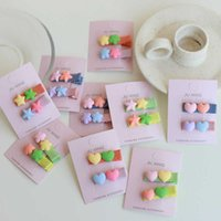 girl heart color contrast compact duckbill clip love flower Star color matching edge clip children's hair accessories