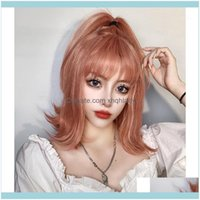Synthetic Wigs Hair Productssynthetic Orange Pink Short Wig Shoulder-Length Slightly Wavy Lolita Girl Heat-Resistant Wigs1 Drop Delivery 202