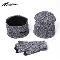 Winter Hat Scarf Gloves Set Solid Color Women Men Beanie Hats Warm Outdoor Knit Windproof Hat Hedging Cap with Lining Hats Bonet H0923