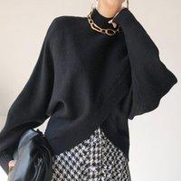 Suéter das mulheres Lamtrip irregular Black Slit Stand Camisola de colar