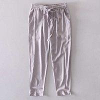 30-38 Tamanho Primavera Calças Longas Homens Moda Calças Cinzentas Mens Casual Sólido Elástico Cintura Calças Homens Marca Broek Pantaloni 210527