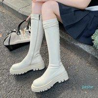 fashion-Black White Split Leather Knee High Boots Platform Square Low Heel Motorcycle Boots Autumn Women Zipper Women Boots