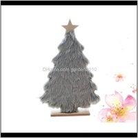 Dekorative Blumen Kränze Plüsch Holz Weihnachtsbaum Künstliche Verzierung Desktop Dekor Geschenk Spielzeug (grau) 5phk5 Ukrrn