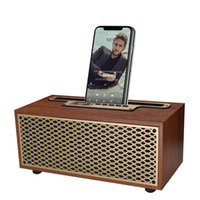 Portable Speakers Vintage Wood Grain Bluetooth Speaker TWS Wireless Home Subwoofer Outdoor Mini Gift Stereo Mobile Phone Stand