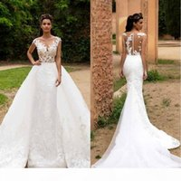 2020 Lace Mermaid Wedding Dresses With Detachable Skirts Sheer Cap Sleeves Tulle Applique Wedding Bridal Gowns With Buttons BA7214
