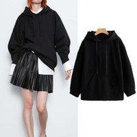 Black Hoodies Long Sleeve Sweatshirt Women Kangaroo Pocket Ropa Mujer High Street Autumn Women's & Sweatshirts