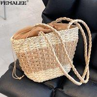 Shoulder Bags Summer Handmade Straw Woven For Women Large Capacity Bucket Handbags Tote Handle Purses Lady Beach Travel SAC