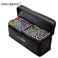 Touchfive Dual Tips Эскиз Двухместный маркер ручки 30 40 60 60 80 168 Цвета Алкогольные чернильные маркеры для студентов и дизайнера