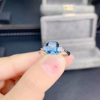 Cluster Rings 925 Silver Natural Topaz 7*7mm Square Cut Luxury Engagement Ring Jewelry For Women