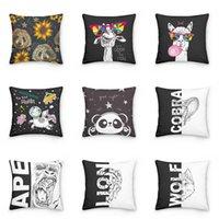 Black and White Animal Lion Wolf Ape Cobra Decorative Pillowcase Polyester Cushion Cover Throw Pillow Case Sofa Pillowcover