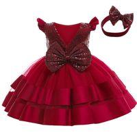 Girl's Dresses Baby Birthday Party Big Butterfly Sequin Gauze Dress Flower Girl Christmas Communion Send Headdress