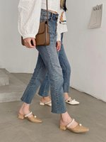 الأحذية المسطحة الإناث البغال للنساء 2021 مربع كعب منزل النعال منصة الشرائح الفاخرة سلسلة حبة ميد بانتوف غطاء تو كتلة