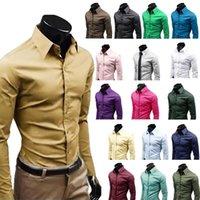 Men's Dress Shirts Men Formal Business Suit Long Sleeve Office Tops Multi-color Choice