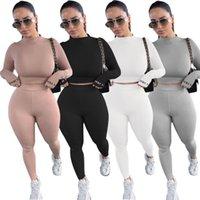 Mode Frauen 2 Stück Sportswear Basic Skinny Tracksuist Solid Casual Zwei Stück Hosen eingestellt in 4 Farben