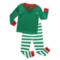 잠옷 물리적 총리 가을 아이들의 면화 남성과 여성의 크리스마스 스트라이프 집 착용 세트