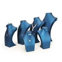 التغليف إسقاط التسليم 2021 الأزرق بو الجلود مجوهرات مجموعة عرض موقف مجوهرات حلقة القرط قلادة تمثال نصفي شكل الرقبة للنافذة بوتيك هي