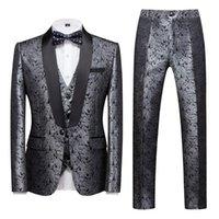Серебряные мужские костюмы с брюками Флористическое платье выпускного вечера 3 шт набор жениха свадьба для смокинга (куртка + брюки + жилет) 5xl мужские пиджаки