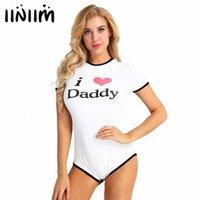 US STOCK IINIMIM WOMENS adulte J'adore papa Presse Bouton Coton Coton Coton Romper Jumpsuit Cosplay Costumes Costumes BodySuit S2T4 #