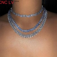 2021 New 9mm Clear Crystal Cuban Link Chain Choker Necklace For Women Color Mixed Short Miami Curb Chokers Hip Hop Punk Jewelry