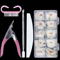 Nail Art Kits 500Pcs Box False Nails Tips Manicure Kit File Lime 100 180 Buffer Block Cutter Scissors Cleaning Brush Tools