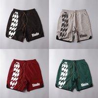 Streetwear Rhude Racing Track Impressão Beach Shorts Homens 1: 1 Alta Qualidade Verão Mesh Breedcloth Malha de Malha Rodude Shorts Y200901