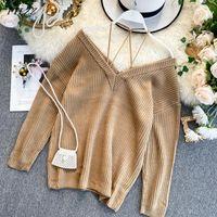 Женские свитеры Ftlzz модный свитер женщин элегантный спагетти ремешок с плечо с длинным рукавом пуловер вязание женские перемычки