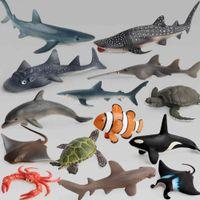 Yutong المحيط البحر الحياة محاكاة نموذج الحيوان مجموعات القرش الحوت السلاحف السلاحف الدلفين عمل اللعب أرقام أطفال جمع التعليم هدية